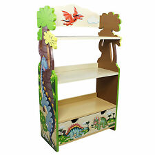 Childrens Dinosaur Kingdom Green Brown Book Case Kids Wooden Bookcase Bookshelf