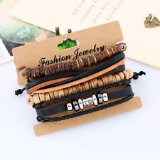 Fashion Men Women Multilayers Leather Wooden Beads Bangle Bracelet Wristband Set