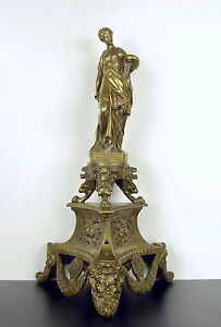 Tripod IN the Ancient Bronze XIX ° Empire,Athena & Heads Of Lion,Poseidon,H :3
