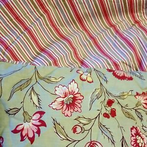 Pottery Barn Duvet Cover ~ King Bed ~ Green Floral/Red Striped ~ 100% Cotton