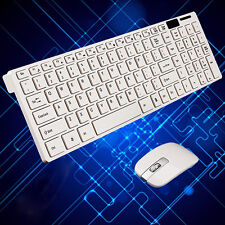 2.4g White Slim Wireless Keyboard & Cordless Optical Mouse Set for PC Laptop AU