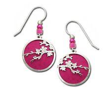 Adajio Earrings Cherry Blossom 2 Part Filigree Fuchsia Pink Handpainted Gift Box