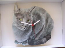 Bleu russe chat horloge murale. new & boxed