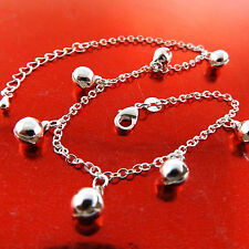 ANKLET REAL 925 STERLING SILVER S/F LADIES BELL BEAD CHARM DESIGN 25CM FS3A771