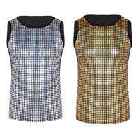 Mens Shiny Metallic Sleeveless Pullover Muscle Vest Tank Tops Nightclub Shirts
