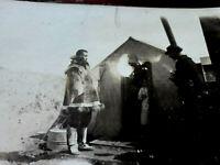 Historic vintage real photo Eskimo visiting cabin camp RPPC Postcard