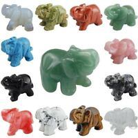 Quartz Gemstone Elephant Pocket Statue Home Guardian Healing Figurine Decor