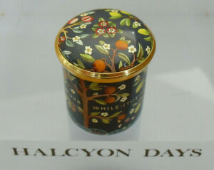 Halcyon Days/V&A Fruit Tree Linen Inspired Screw-Top Enamel Box - >1 3/8""