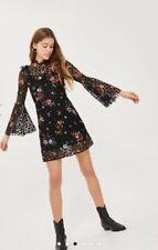 Topshop Ditsy Floral Print Flute Sleeve Skater Dress Uk10 Rrp £46 Sheer