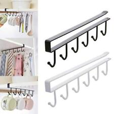 6 Hooks Cup Holder Hang Kitchen Cabinet Under Shelf Storage Rack Organiser  LH