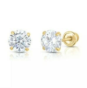 10K Yellow Gold 2mm-8mm Round CZ Stud Earring Pair with Secure Screw Back