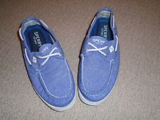 Mens Sperry Top-Sider blue chambray cotton classic boat deck shoe NWOT Size 8