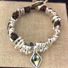 NWT UNO de 50 STALAGMITE Silver Pieces Bracelet with Crystal w/ Pkging PUL1675