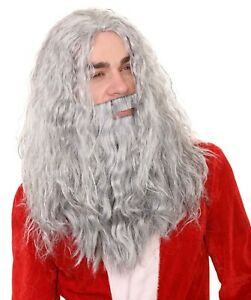 Adult Grey Wavy Wig and Beard Set for Cosplay Santa Claus Christmas Party HX-020