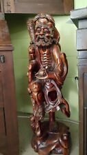 """Very LARGE 35"""" Antique Carved Asian Chinese Rosewood Wooden Figure Statue 89cm"""