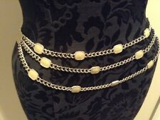 """ST JOHN COLLECTION..DESIGNER JEWELRY..39""""..BELT/NECKLACE..SILVER TONE..OFF WHITE"""