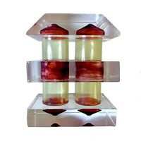 """Vintage Lucite Art Deco Design 2 1/2"""" Salt And Pepper Shakers Red, Clear"""