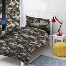 CAMOUFLAGE GREY SINGLE DUVET COVER & PILLOWCASE SET BEDDING ARMY