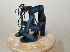 Tom Ford Denim Cage Lace Up Sandal Heels retails $1590 sz 7 ASO Kim Kardashian