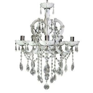 Chandelier White With Crystals Bright Asfour Made IN Italy Real Deal