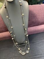 """Vera Wang Vintage 40"""" Faux pearl Crystal  bead Pretty 3  Strand Sweater Necklace"""