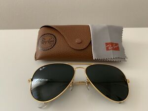 Ray Ban sunglasses aviator, 3025, Large 62mm,Gold Frame / Green Lens, Pre-owned,