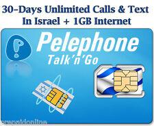 Pelephone Israel Prepaid Sim Card + 30 Day Unlimited Plan, Nano Size Sim