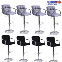 Set Of 4 Bar Stools PU Leather Adjustable Swivel Bistro Pub Dining Chair Kitchen