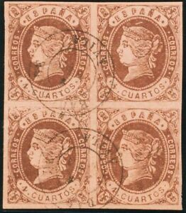 España. Castilla And León. Filatelia. º 58 (4) .1862. 4 Cuartos Chestnut, Blocks