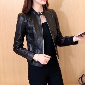 Fashion Womens Punk Motorcycle Jacket PU Leather Long Sleeve Short Coat Outwear