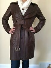 ANDREW MARC LEATHER COAT, BROWN, ABOVE KNEE, size M