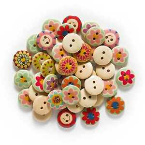 50pcs Flower Series Wooden Buttons Sewing Scrapbooking Crafts Making Decor 15mm