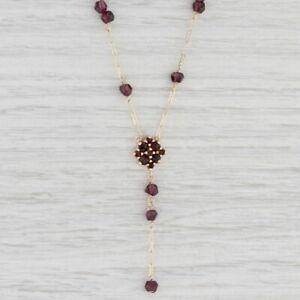 "Garnet Bead Flower Lariat Necklace 10k Yellow Gold Crinkle Chain 17.5"""
