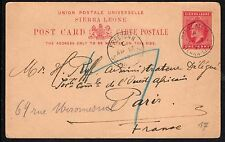 SIERRA LEONE:1902-1 penny Postal Card -H &G8 - posted to France dated 17/4/17