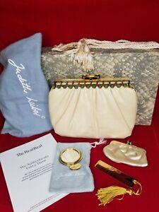 Judith Leiber Karung Lizard Bag Clutch, Box,Dustbag, Mirror, Comb, Coin Handbag