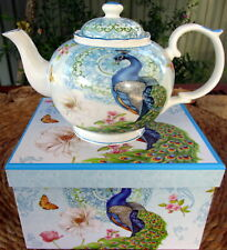 """""""PEACOCK"""" BONE CHINA 24CM 1 LTR TEAPOT IN MATCHING BOX GORGEOUS CHRISTMAS GIFT!"""