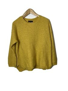 New Look Ladies Jumper Size 14 Yellow Cable Knit Soft touch
