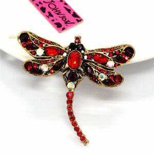 Betsey Johnson Red Dragonfly Rhinestone Charm Inlaid Crystal Woman Brooch Pin