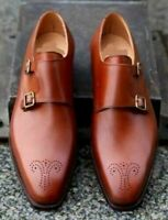 Handmade Men Tan color Brogue formal Shoes, Dress monk shoes-Goodyear Welted