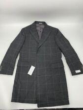 New Nordsrtrom rack mens overcoat jacket gray plaid trim fit Sz M wool x 315
