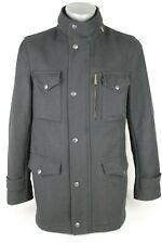 Genuine Men's Barbour Black Wool Sapper Military Coat Jacket Small Size 36