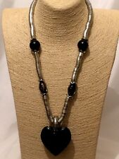 Statement Chunky Long Big Large Metal Silver Black Beaded Heart Pendant Necklace