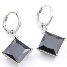 Black Onyx Gemstone Woman Solid Silver Dangle Hook Earrings