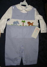 Boy Smocked Longall Overalls 3T LION ELEPHANT ZOO New Vive La Fete Safari Disney