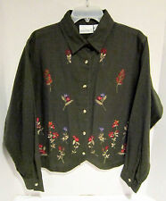 """Fashion Bug green textured cotton flower embroidered l.s. shirt L 45"""" NWT"""