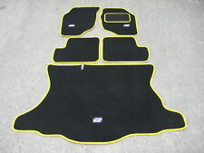 Car Mats in Black/Yellow Trim to fit Rover 25/MG ZR + Flags Logos + Boot Mat