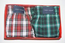 NWT TOMMY HILFIGER 2 BOY woven boxers underwear size M 8/10 red, green