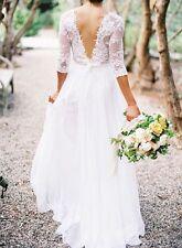 Hot 3/4 Sleeve White Ivory Lace Wedding Dress with Sash Gorgeous Chiffon Gown