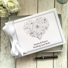 PERSONALISED WEDDING GUEST BOOK ~ SWIRL HEART DESIGN  WITH SWAROVSKI CRYSTALs