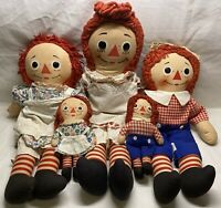 Raggedy Ann (3) & Andy (2) Dolls Knickerbocker 60s 70s VTG Lot Set Love